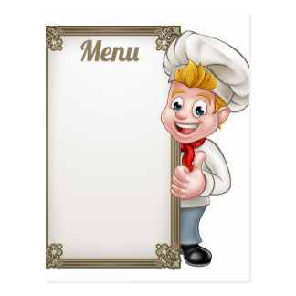 Cartoon Chef or Baker Character Menu Postcard