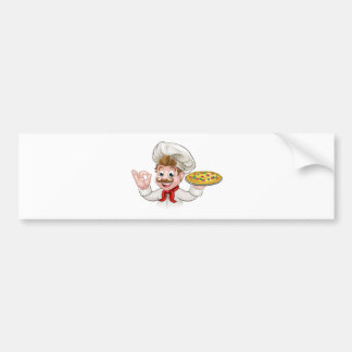 Cartoon Chef Pizza Bumper Sticker