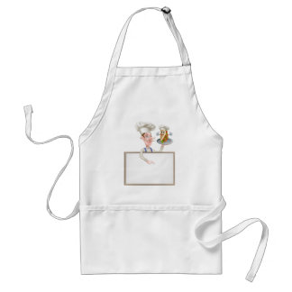 Cartoon Chef Pointing at Kebab Sign Standard Apron