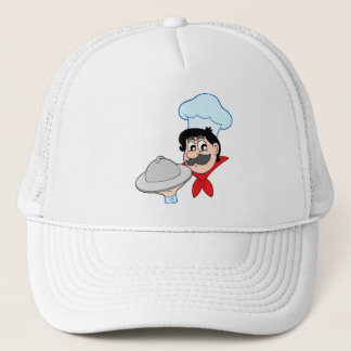 Cartoon chef with dish trucker hat
