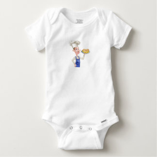 Cartoon Chef With Hot Dog and Chips Baby Onesie