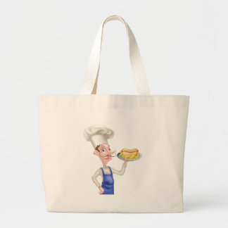 Cartoon Chef With Hot Dog and Chips Large Tote Bag