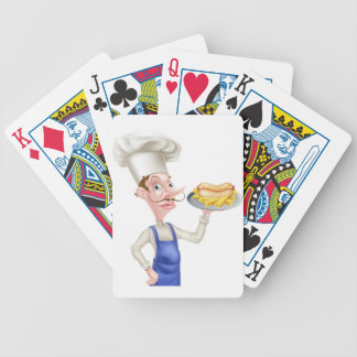 Cartoon Chef With Hot Dog and Chips Poker Deck