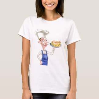 Cartoon Chef With Hot Dog and Chips T-Shirt