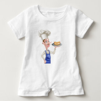 Cartoon Chef With Hot Dog Baby Romper