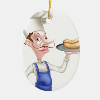 Cartoon Chef With Hot Dog Ceramic Ornament
