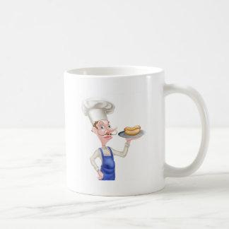 Cartoon Chef With Hot Dog Coffee Mug