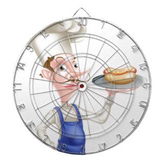 Cartoon Chef With Hot Dog Dartboard