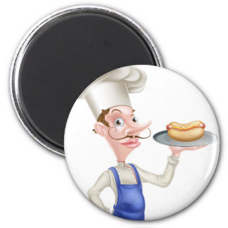 Cartoon Chef With Hot Dog Magnet