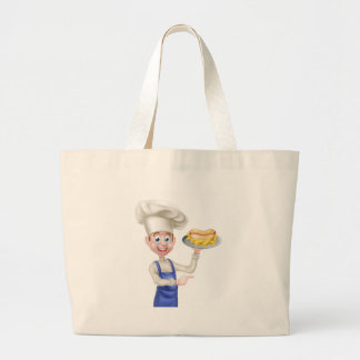 Cartoon Chef With Hot Dog Pointing Large Tote Bag