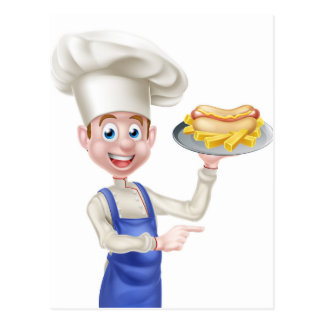 Cartoon Chef With Hot Dog Pointing Postcard