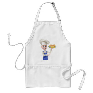 Cartoon Chef With Hot Dog Pointing Standard Apron