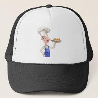 Cartoon Chef With Hot Dog Trucker Hat