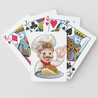 Cartoon Chef with Kebab Bicycle Playing Cards