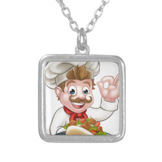 Cartoon Chef with Kebab Silver Plated Necklace