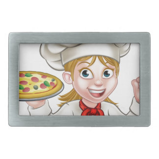 Cartoon Chef Woman and Pizza Belt Buckle