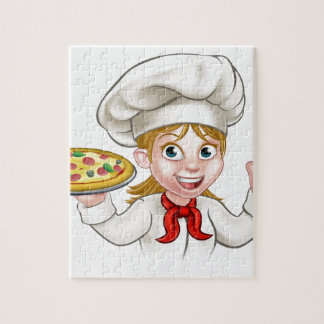 Cartoon Chef Woman and Pizza Jigsaw Puzzle