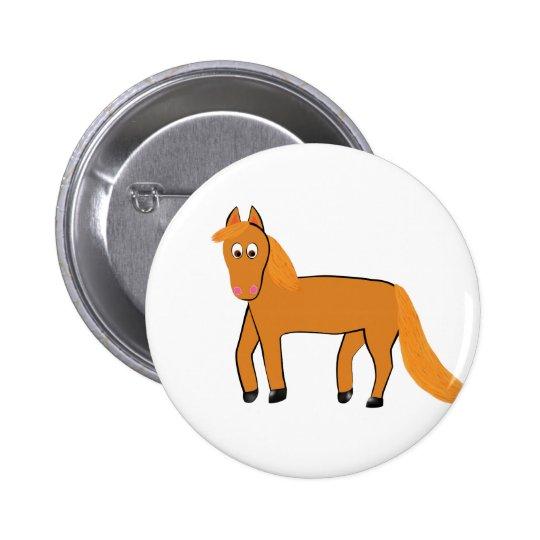 Cartoon Chestnut Horse 2 Inch Round Button