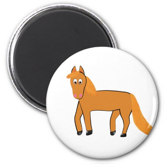 Cartoon Chestnut Horse 2 Inch Round Magnet