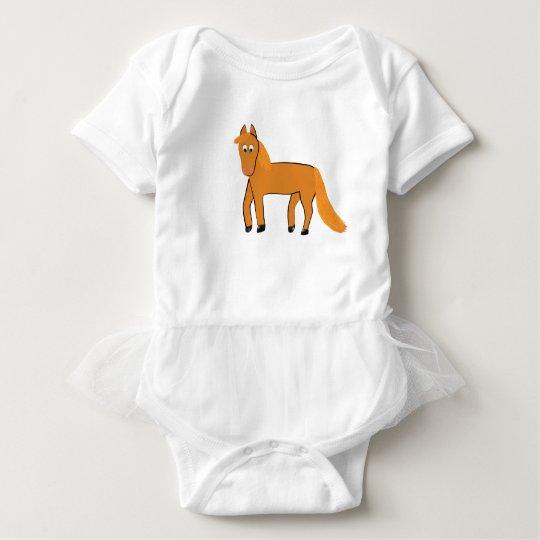 Cartoon Chestnut Horse Baby Bodysuit