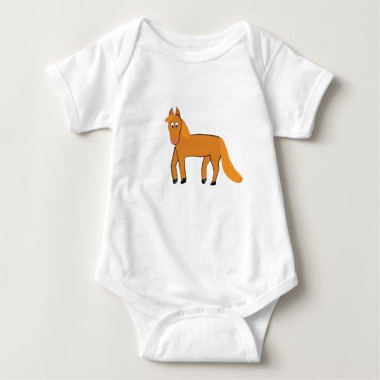 Cartoon Chestnut Horse Baby Bodysuit