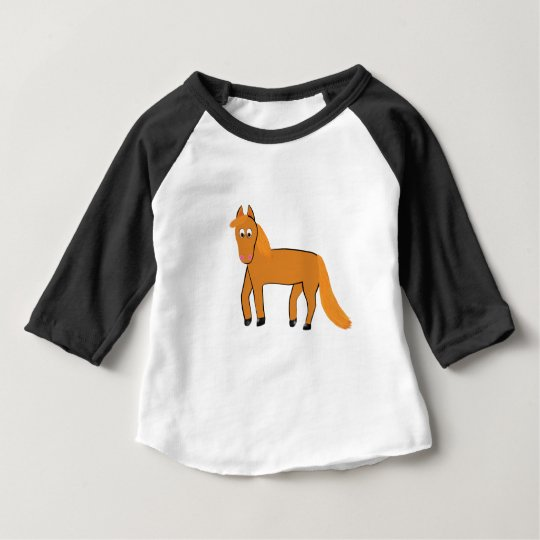 Cartoon Chestnut Horse Baby T-Shirt