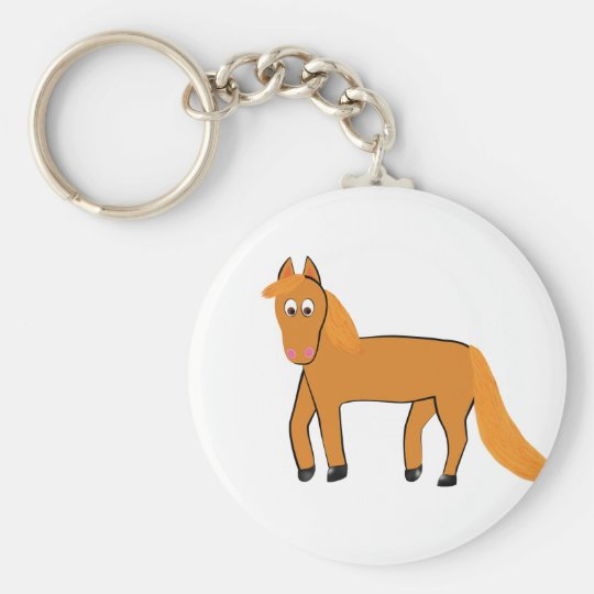 Cartoon Chestnut Horse Basic Round Button Keychain