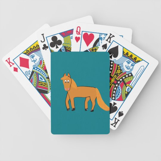 Cartoon Chestnut Horse Bicycle Playing Cards
