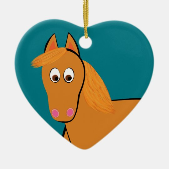 Cartoon Chestnut Horse Ceramic Heart Ornament