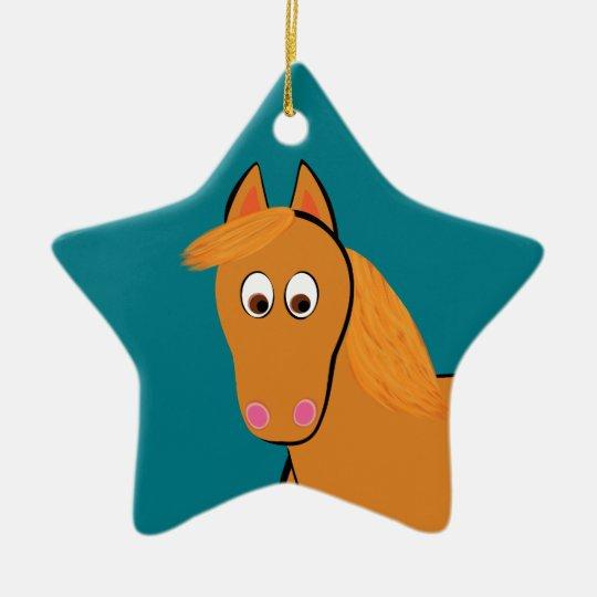 Cartoon Chestnut Horse Ceramic Star Ornament