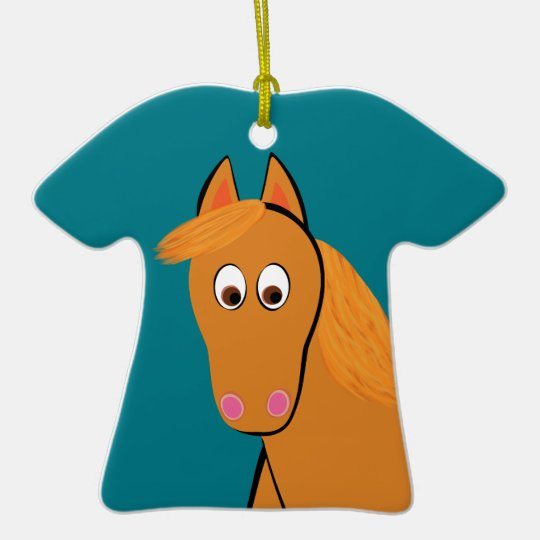 Cartoon Chestnut Horse Ceramic T-Shirt Ornament