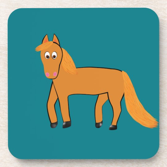 Cartoon Chestnut Horse Coaster