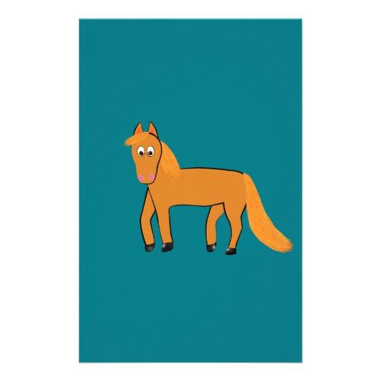 Cartoon Chestnut Horse Custom Stationery