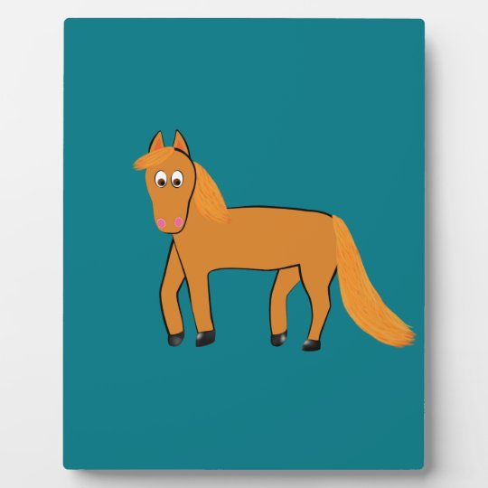 Cartoon Chestnut Horse Display Plaques