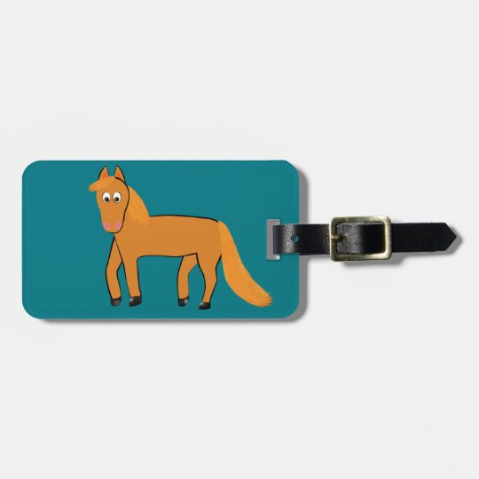 Cartoon Chestnut Horse Luggage Tag