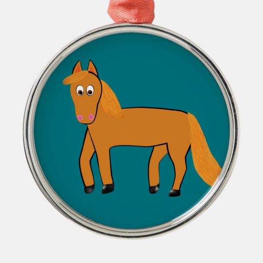 Cartoon Chestnut Horse Metal Ornament