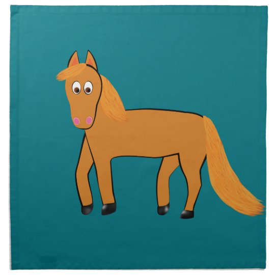 Cartoon Chestnut Horse Napkin