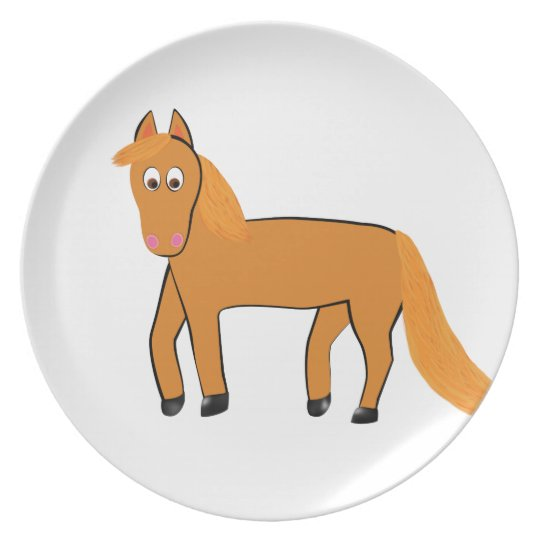 Cartoon Chestnut Horse Plate