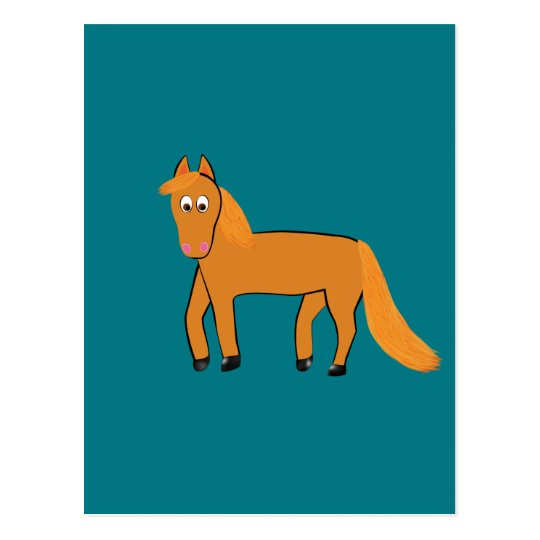 Cartoon Chestnut Horse Postcard