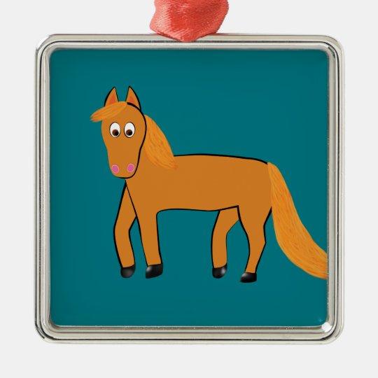 Cartoon Chestnut Horse Silver-Colored Square Ornament