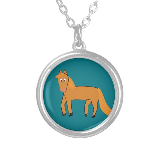 Cartoon Chestnut Horse Silver Plated Necklace