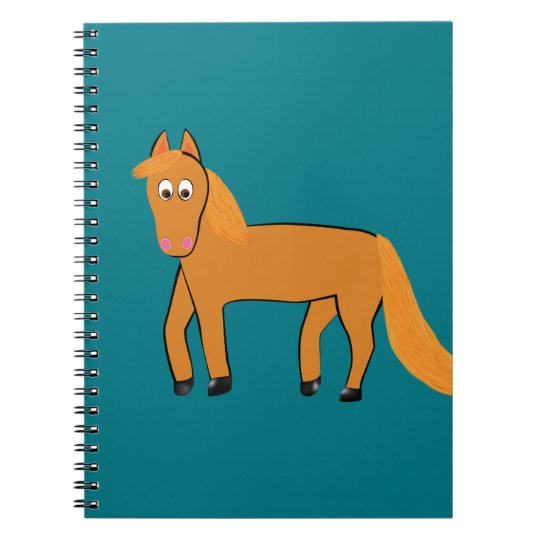Cartoon Chestnut Horse Spiral Notebook