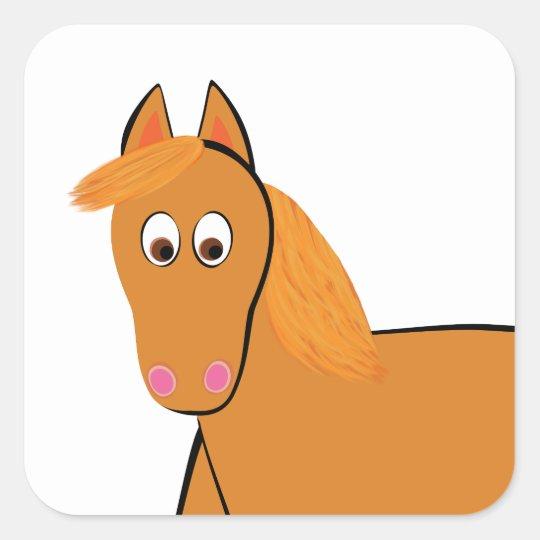 Cartoon Chestnut Horse Square Sticker