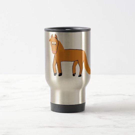 Cartoon Chestnut Horse Travel Mug
