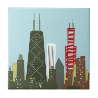 Cartoon Chicago Tile
