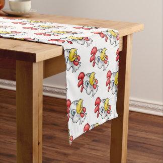 Cartoon Chicken Rooster Character Short Table Runner