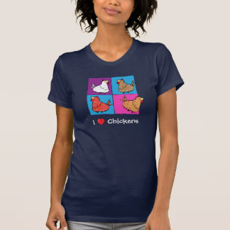 Cartoon Chickens Color Squares - Ladies T-shirt