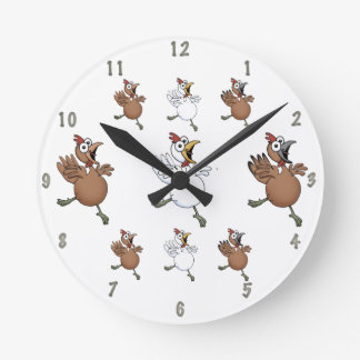 Cartoon chickens wall clock