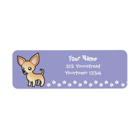 Cartoon Chihuahua (smooth coat) Return Address Label