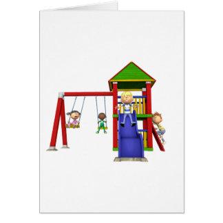 Cartoon Children at a Playground Card